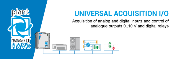 Acquisition of analog and digital inputs and control of analogue outputs 0..10 V and digital relays