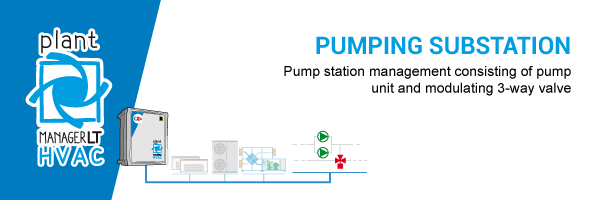 Pump station management consisting of pump unit and modulating 3-way valve